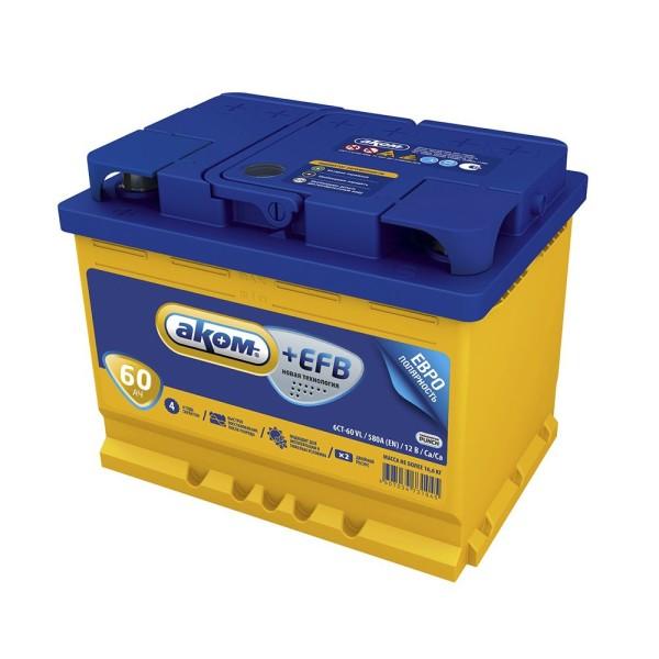 Аккумулятор АКОМ +EFB 60 AH обр.